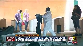 Homeless camp residents call on city for solution - Video