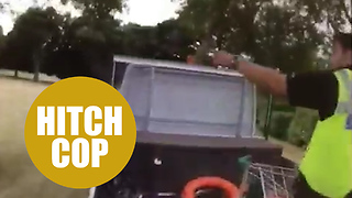 Cops chase suspected burglars through a park on a gardener's truck - Video