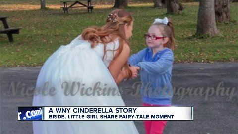 Bride and little girl share a fairy-tale moment