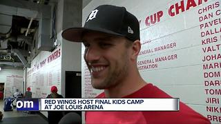 Red Wings kid campers grill Riley Sheahan on goals scored - Video