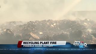 Crews battle recycling plant fire near Roger and Romero - Video