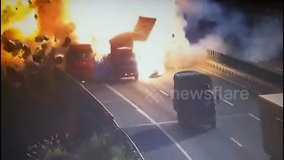 Massive explosion when lorries collide on Chinese motorway