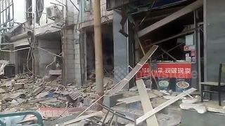 Dramatic moment store explodes injuring two in China - Video
