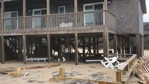 Hurricane Florence Leaves Damage to Seafront Homes in Avon, North Carolina
