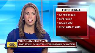 Ford recalls almost 1.4M cars; steering wheel can detach from steering column - Video