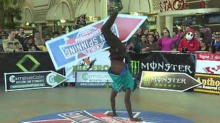 Fremont Street Experience hosts World Sign Spinning Championship - Video