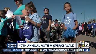 Walkers gather for the 12th Annual Autism Speaks Walk - Video