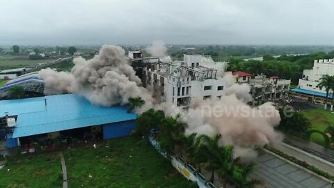 Controlled explosions demolish illegal hotel in northern India