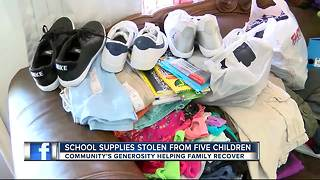 Stolen school supplies keeps kids from attending first day of school - Video
