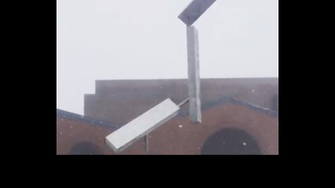 Kinetic Scultpure Shifts in the Falling Snow at Penn State