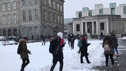 Snowball Fight at Dublin's Trinity College