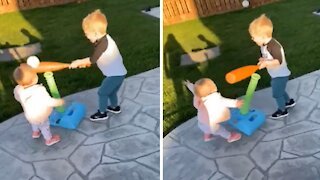 Epic fails: Kid swings plastic bat right into baby's face