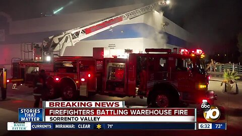 Crews battle fire that ignited in Sorrento Valley warehouse