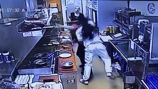 Man punches cook at George Webb - Video