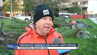 Holiday lights going up in Cathedral Square Park