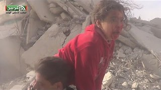 Airstrikes On Irbin in East Damascus Injure Children - Video