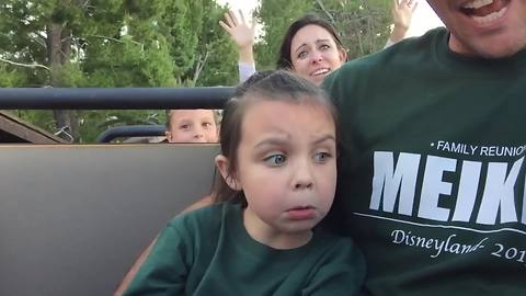 Young Girl Rides Big Thunder Mountain Railroad At Disneyland For The First Time