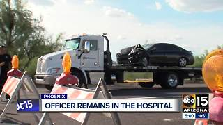 Phoenix officer critically injured in crash recovering in the hospital - Video