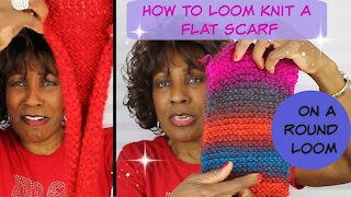 How To Loom Knit A Flat Scarf On A Round Loom - Loom Knitting With Wambui Made It
