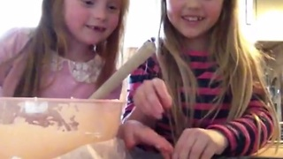 Little girls demonstrate how to make honeycomb ice cream