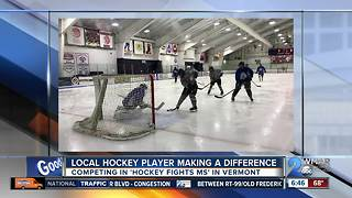 Local hockey player is fighting stereotypes while raising money for MS - Video