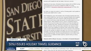 SDSU issues holiday travel guidance