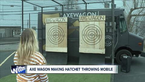 Axe wagon making hatchet throwing mobile