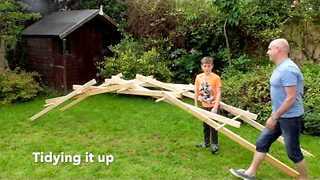 Brainy Boy Builds Backyard Bridge Made Entirely Out of Sticks - Video