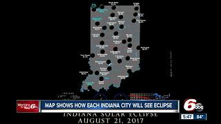 Map shows how much each Indiana city will see of upcoming solar eclipse - Video