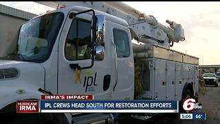 Indianapolis Power and Light travel to Florida to restore electricity lost by Hurricane Irma - Video
