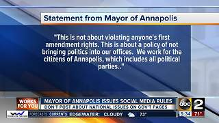 Annapolis mayor prohibits posting about the president, national issues on social media - Video