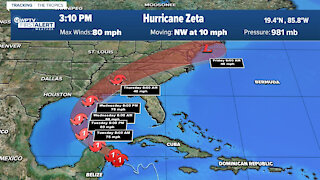 Zeta strengthens into Category 1 hurricane