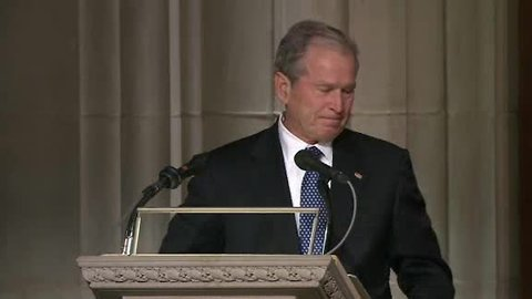 Former President George W. Bush honors father in emotional tribute