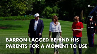 Barron Trump Needs One Look Back After Returning From Camp David - Video