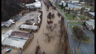 Flooding Prompts Road Closures in Asheville, North Carolina