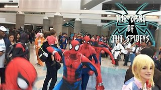 Group of Spider-Men Dance Their Webs Out at LA Comic Con - Video