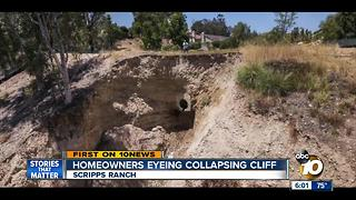 Scripps Ranch homeowners eyeing collapsing cliff - Video
