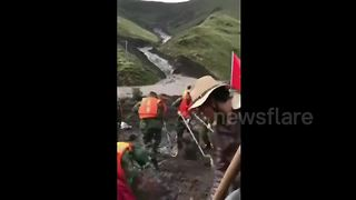 Aftermath of deadly landslide in western China - Video