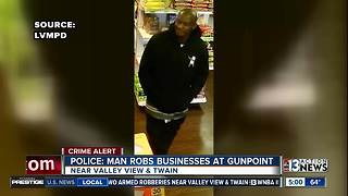 LVMPD searching for suspect in two armed robberies - Video