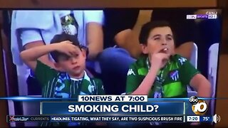 Video shows a child smoking at a soccer game?