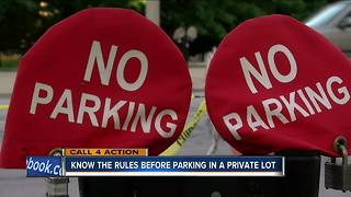 Call 4 Action: Be careful parking in private lots