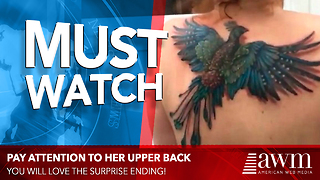 He Focuses Camera On Her New Tattoo, Now Pay Attention Closely As She Shrugs Shoulders - Video