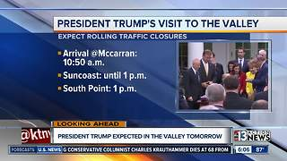 President Trump expected in Las Vegas tomorrow, traffic delays expected - Video