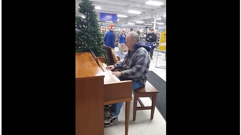 Elderly Man Sits Down At Goodwill Piano, Leaves Shoppers In Tears With His Impromptu Performance