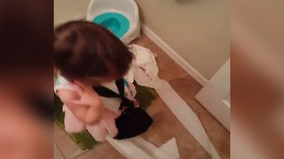 Little Girl Takes Care Of Bathroom Business - Video