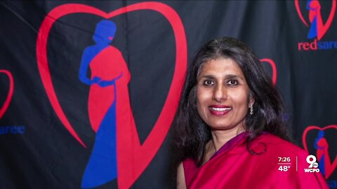 Red Saree promoting heart health of South Asians i