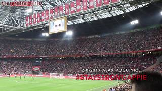 Ajax fans pay tribute to hospitalised player - Video