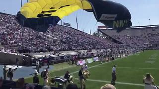 Parachute fail at US college football game