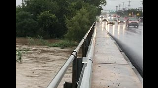 Floodwaters Swell Creek in Marble Falls, Texas - Video