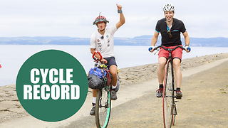 The first person to travel around the world on a unicycle